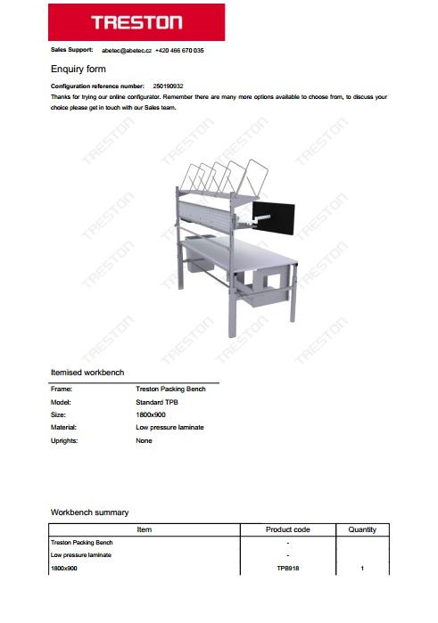 Konfigurace stolů Treston č. 10