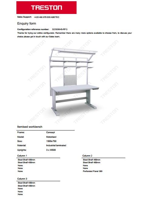 Konfigurace stolů Treston č. 11