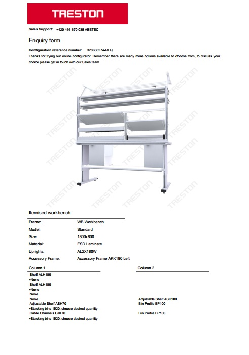 Konfigurace stolů Treston č. 12