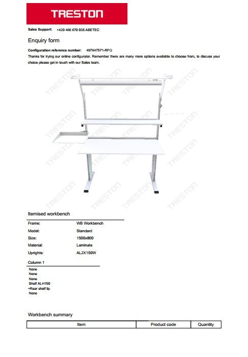 Konfigurace stolů Treston č. 13