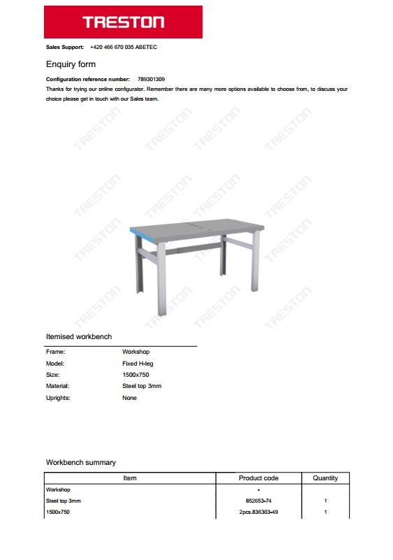 Konfigurace stolů Treston č. 15