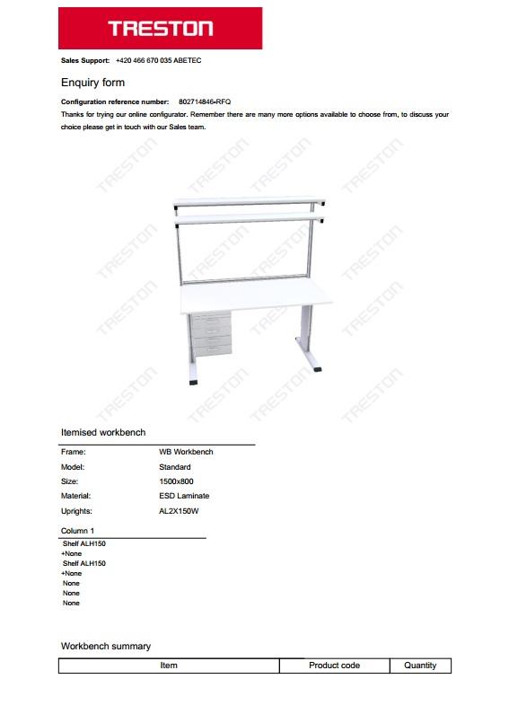 Konfigurace stolů Treston č. 16